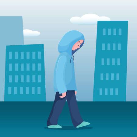 Adolescente triste e infelice, giovane donna in felpa con cappuccio che cammina lentamente da sola in città, concetto di depressione, illustrazione vettoriale piatta. Ragazza depressa e infelice, donna che cammina lentamente in città