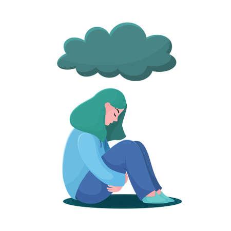 Adolescente triste e infelice, giovane donna seduta sotto la pioggia, concetto di depressione, illustrazione vettoriale piatta isolato su sfondo bianco. Ragazza depressa e infelice, donna seduta sotto la nuvola di pioggia