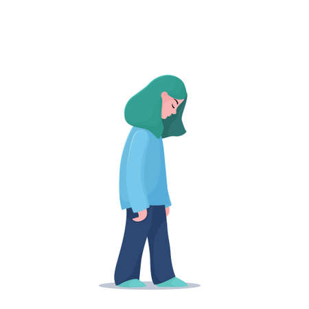 Sad, unhappy, depressed teenage girl, young woman walking slowly alone, depression concept, flat vector illustration isolated on white background. Depressed, unhappy girl, woman walking slowly alone Foto de archivo - 110045747