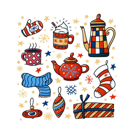 Winter, Christmas square greeting card, banner design with teapots, cups and Xmas doodles, vector illustration on white background. Winter, Chrismas square greeting card design with funny doodles