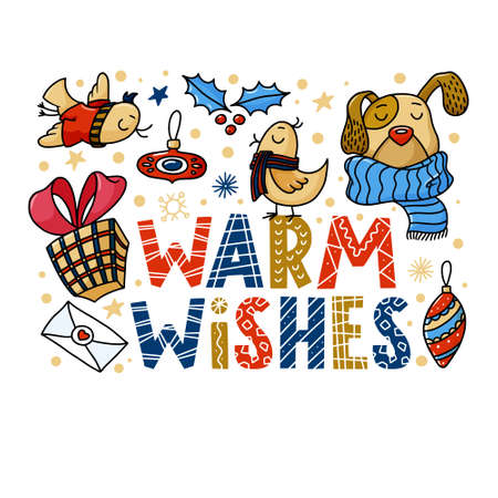 Warm Wishes, Christmas greeting card design with funny dog and birds, doodle vector illustration on white background. Horizontal greeting card design with Chrismas characters and Warm Wishes lettering