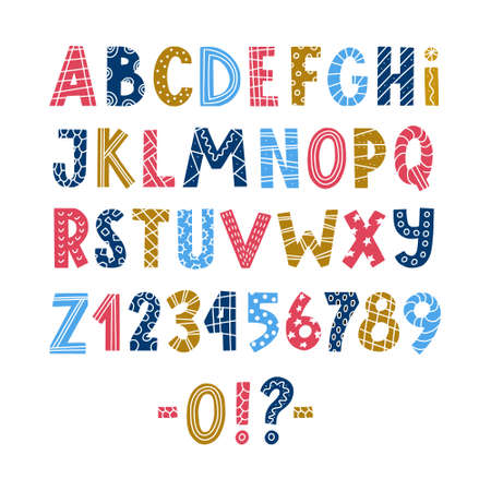 Lustiges buntes handgezeichnetes Alphabet des skandinavischen Stils, abc und Zahlen mit Dekorationselementen, isolierte Vektorillustration auf weißem Hintergrund. Skandinavisches lateinisches Alphabet, abc für Grußkarten