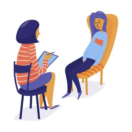 Mujer bonita joven, niña visitando a un terapeuta, sintiéndose triste y frustrada, ilustración vectorial plana aislada sobre fondo blanco. Terapeuta, psicólogo consulta a joven deprimida, niña Logos