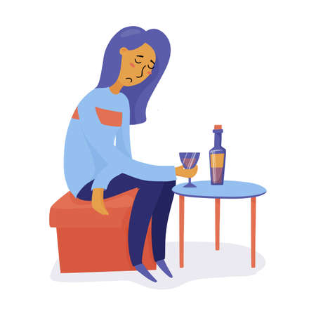 Young unhappy, depressed woman, girl drinking wine alone, feeling sad, flat vector illustration isolated on white background. Unhappy girl, woman drinking wine, feeling sad, symptom of depression