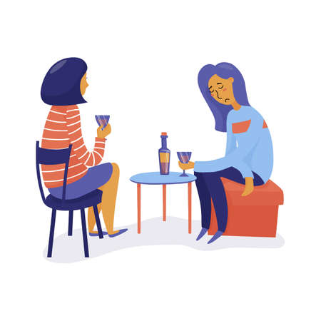 Two friends, women drink wine, one sad, unhappy talking, another listening, flat vector illustration isolated on white background. Two women have reindly talk over wine, one of them sad, frustrated