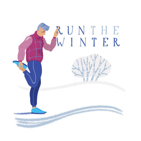 Winter running banner - young athletic man in jogging clothes warming up, stretching legs, flat cartoon vector illustration on white background. Winter running banner - man warming up for training Illustration