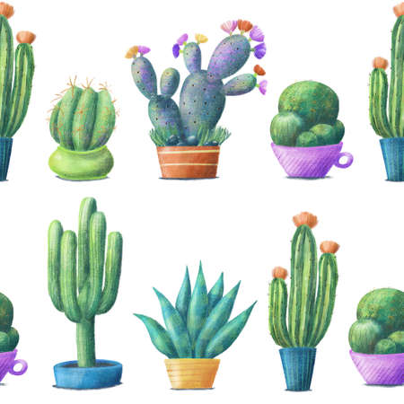 Regular seamless pattern with cute cacti, tall, round, prickly pear, agave, houseplants in pots, hand drawn illustration on white background. Cute cacti in pots, seamless pattern on white background Imagens