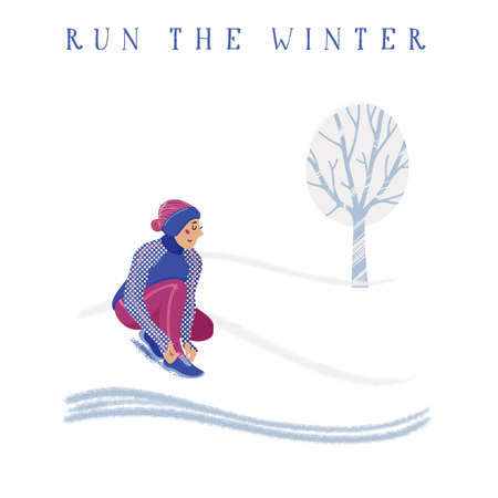 Winter running concept - young pretty woman in warm clothes tying shoelaces in snow covered park, flat cartoon vector illustration on white background. Winter running banner with young woman training Illustration