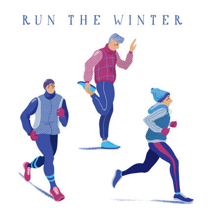 Set of young men warming up, running, jogging season, flat cartoon vector illustration isolated on white background. Set of men running, jogging, warming up in winter season, dressed in warm clothes Stock Photo