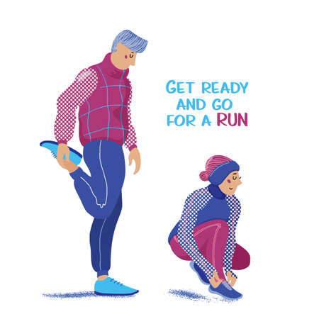 Man stretching legs and woman tying laces before running in winter, flat cartoon vector illustration on white background. Getting ready for running in winter - stretching and dressing in warm clothes Illustration