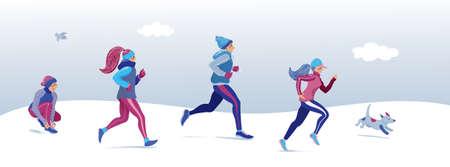 Winterlaufbanner, Cover-Design mit Menschen, Männern und Frauen, die laufen, im Winterpark joggen, flache Cartoon-Vektorillustration. Junge Leute in warmer Kleidung, Laufen, Training im Winter