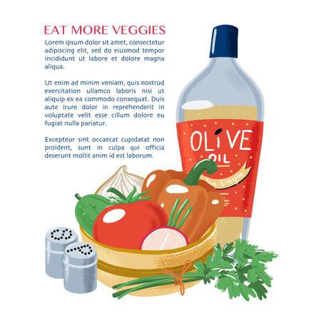 Template, design for page, leaflet, banner on Italian cuisine - bowl of salad vegetable, bottle of olive oil, bunch of parsley, salt, pepper, textured vector illustration isolated on white background