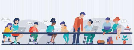 Les enfants apprennent la bannière de codage, le cours d'informatique en classe, les personnes travaillant sur des ordinateurs portables, l'illustration vectorielle. Bannière avec des enfants travaillant sur des ordinateurs - enfants en classe, enseignant, maman aidant sa fille