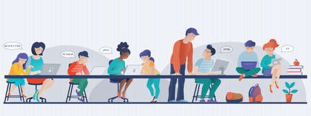 Kids learn coding banner, computer science lesson in classroom, people working on laptops, vector illustration. Banner with kids working on computers - kids in class, male teacher, mom helping daughter Illustration