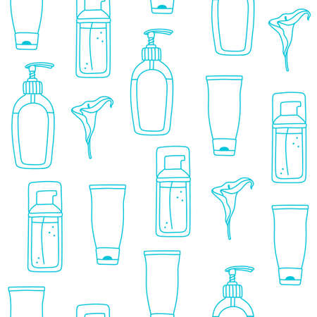 Seamless pattern with toiletries - liquid soap, cream and facial wash in bottles and tubes, vector illustration on white background. Simple simpless pattern with liquid soap, cream and facial wash Vetores