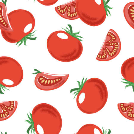 Seamless pattern with whole and cut red ripe tomato, textured vector illustration on white background. Textured vector seamless pattern with red tomato random backdrop design