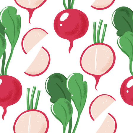 Seamless pattern with whole, half and sliced garden radish with green leaves, textured vector illustration on white background. Grunge effect seamless pattern with radish, vertical design