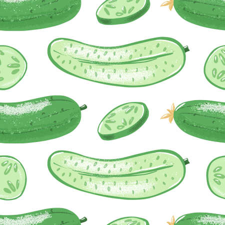 Seamless pattern with whole, half and sliced cucumber, textured vector illustration on white background. Whole and cut green cucumber seamless pattern, regular backdrop design