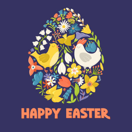 Happy Easter greeting card showing egg filled with cute cartoon hen, cock and spring flowers, vector illustration on dark background. Easter greeting card - chicken and flowers forming egg shape