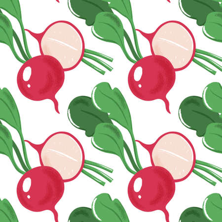 Seamless pattern with whole, half and sliced garden radish with green leaves, textured vector illustration on white background. Grunge effect seamless pattern with radish, diagonal design