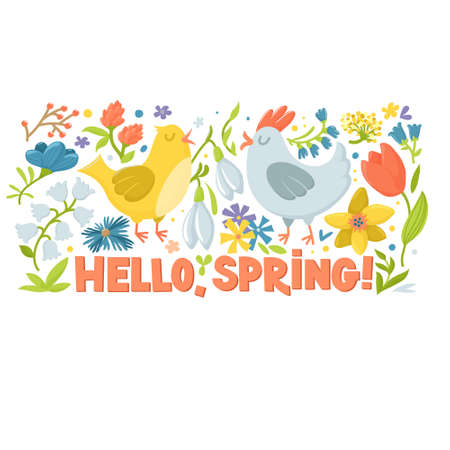 Hello spring greeting card, horizontal banner with cute cartoon hen, rooster and spring flowers, vector illustration on white background. Easter greeting card with chicken, flowers and text