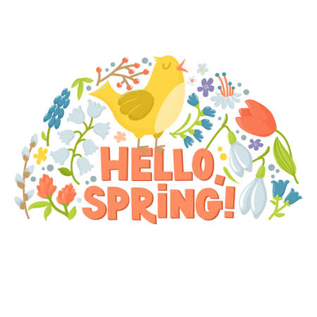 Hello spring greeting card, semicircle banner with cute cartoon hen, chicken, spring flowers and text, vector illustration on white background. Easter greeting card with chicken, flowers and text 일러스트
