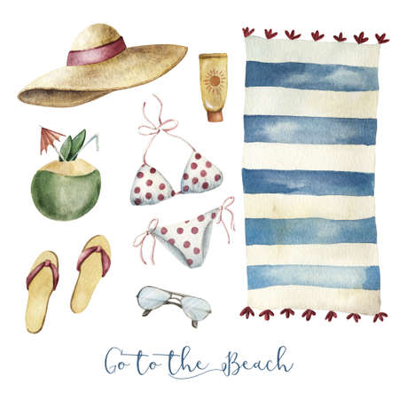 Set of beach vacation essintial objects - bikini floppy hat flip-flops sun protector and sunglasses, watercolor illustration isolated on white background. Set of beach vacation outfit and essentials Stock Photo