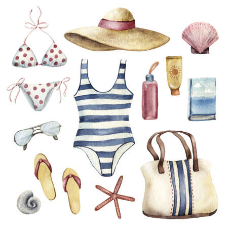 Summer apparel for beach vacation bikini swimsuit floppy hat flip-flops and sunglasses, watercolor illustration isolated on white background. Beach vacation outfit swisuit hat glasses flip flops