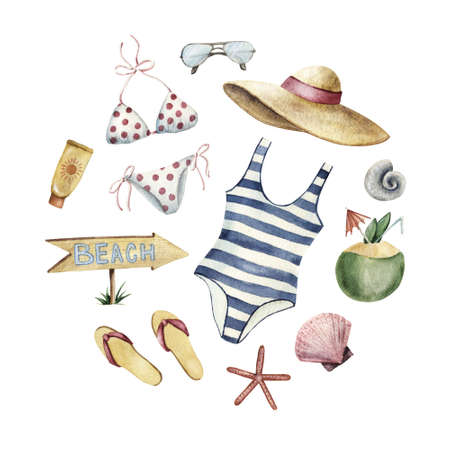 Summer apparel for beach vacation bikini swimsuit floppy hat flip flops and sunglasses coconut shells sun protector forming round shape, watercolor illustration isolated on white background