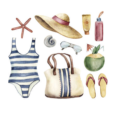 Summer apparel for beach vacation bikini swimsuit floppy hat flip flops and sunglasses, sun cream cocktail bag shells, watercolor illustration isolated on white background