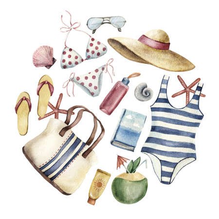 Summer apparel for beach vacation bikini swimsuit floppy hat flip flops sunglasses coconut sun protector bag water bottle forming round shape, watercolor illustration isolated on white background