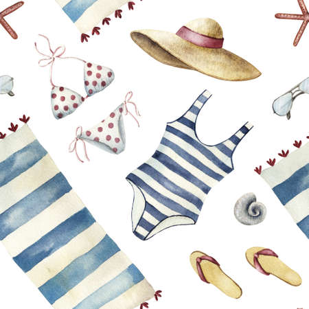 Summer apparel for beach vacation bikini swimsuit floppy hat flip-flops sunglasses towel, diagonal location, watercolor illustration seamless pattern on white background Stock Photo