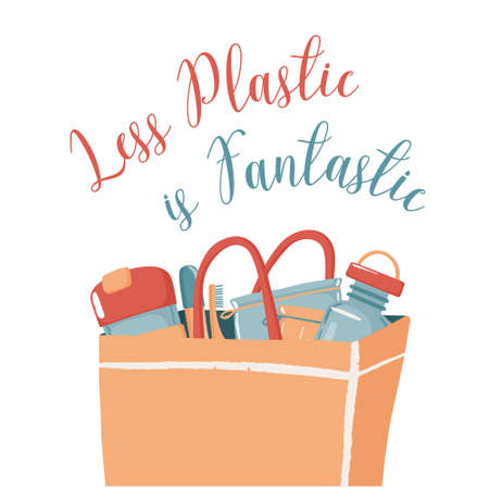 Less plastic is fantastic zero waste concept banner poster with water bottle travel mug produce bags and bamboo toothbrush in paper bag, vector illustration isolated on white background