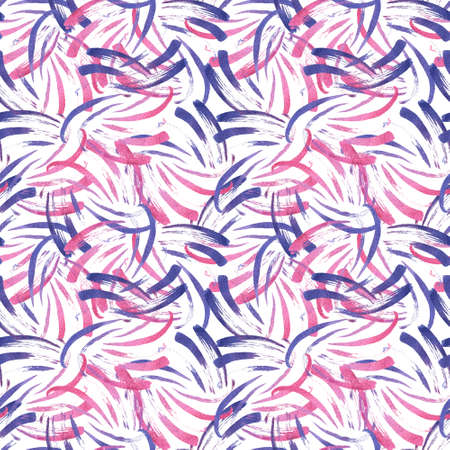 Seamless whimsical abstract pattern with random purple shade watercolor splashes, hand-painted brush strokes on white background. Abstract seamless pattern with pink and purple watercolor splashes