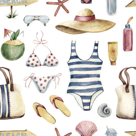 Summer apparel for beach vacation bikini swimsuit floppy hat flip-flops sunglasses, watercolor illustration seamless pattern on white background. Watercolor seamless pattern with beach vacation objects Stock Photo