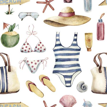 Summer apparel for beach vacation bikini swimsuit floppy hat flip-flops sunglasses, watercolor illustration seamless pattern on white background. Watercolor seamless pattern with beach vacation object