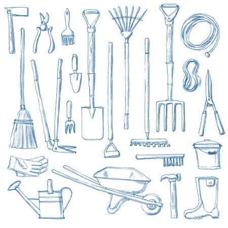 Big set of hand-drawn gardening tools, rough sketch of rakes spade fork shears pruners hammer chopper barrow cutters bucker gloves ruber boots broom hose rope isolated on white background with shading 写真素材