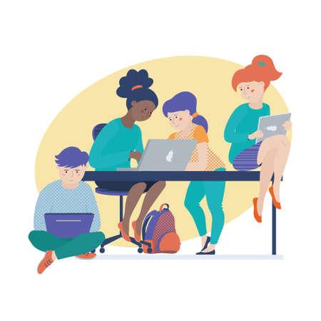 Gruppo di bambini, ragazzi, ragazzi e ragazze che lavorano al computer, imparano la codifica, fanno i compiti su laptop e tablet, illustrazione vettoriale isolato su sfondo bianco. Bambini che lavorano insieme al computer