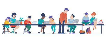 Kids learn coding banner, computer science lesson in classroom, people working on laptops, vector illustration on white background. Banner with kids working on computers, teacher, mom helping daughter