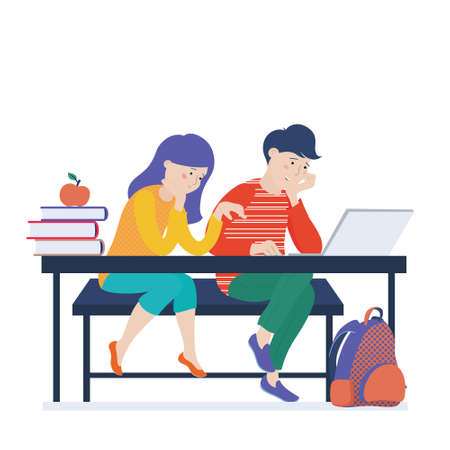 Teenage kids, girl and boy working on laptop, coding, learning computer science, vector illustration isolated on white background. Two kids, boy and girl learning to code, doing homework on computer