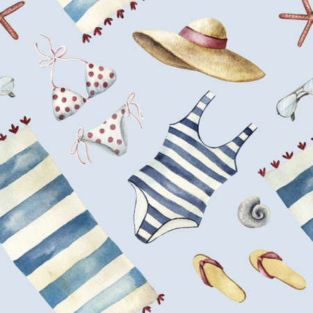 Summer apparel for beach vacation bikini swimsuit floppy hat flip-flops sunglasses towel, diagonal location, watercolor illustration seamless pattern on blue background Stock Photo