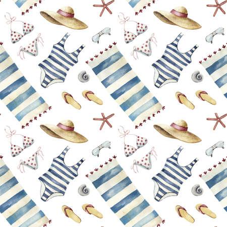 Summer apparel for beach vacation bikini swimsuit floppy hat flip-flops sunglasses towel, diagonal location, watercolor illustration seamless pattern on white background 写真素材