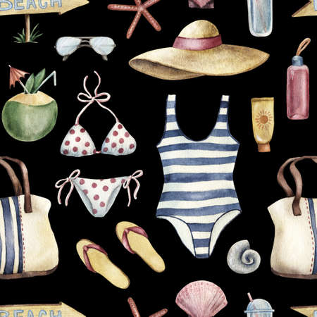 Summer apparel for beach vacation bikini swimsuit floppy hat flip-flops sunglasses, watercolor illustration seamless pattern on black background. Watercolor seamless pattern with beach vacation objects