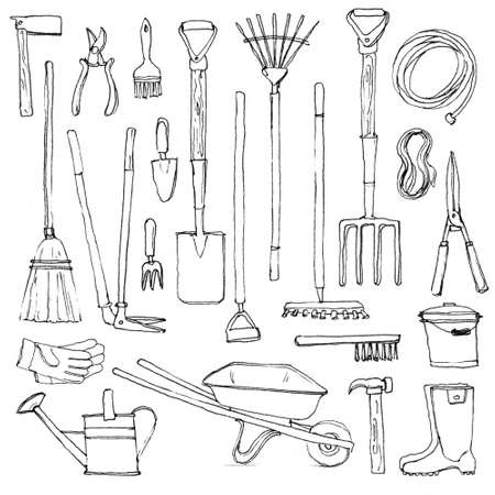Big set of hand-drawn gardening tools, rough sketch of rakes spade fork shears pruners hammer chopper barrow cutters bucker watering pot gloves ruber boots broom hose rope isolated on white background