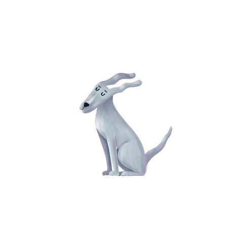 Cute funny dog sitting with long ears waving in the wind, cartoon illustration isolated on white background. Cartoon portrait of funny grey dog, puppy character sitting in the wind