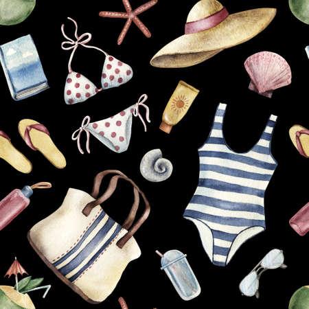 Summer apparel for beach vacation bikini swimsuit floppy hat flip-flops sunglasses, watercolor illustration seamless pattern on black background. Watercolor seamless pattern with beach vacation object