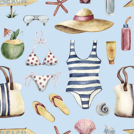 Summer apparel for beach vacation bikini swimsuit floppy hat flip-flops sunglasses, watercolor illustration seamless pattern on blue background. Watercolor seamless pattern with beach vacation objects