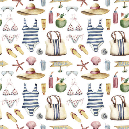 Summer apparel for beach vacation bikini swimsuit floppy hat flip-flops sunglasses bag shell coconut cocktail book, diagonal location, watercolor illustration seamless pattern on white background Banque d'images - 130565645