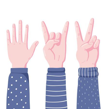 Satz menschlicher Hände, die Gesten zeigen - High Five, Teufelshörner und Victory-Zeichen, flache Vektorgrafik isoliert auf weißem Hintergrund. Menschliche Hände zeigen High Five, Teufelshörner und V-Zeichen-Gesten