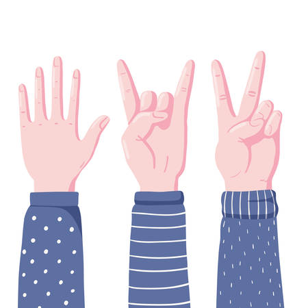 Set of human hands showing gestures - high five, devil horns and victory sign, flat style vector illustration isolated on white background. Human hands showing high five, devil horns and v sign gestures